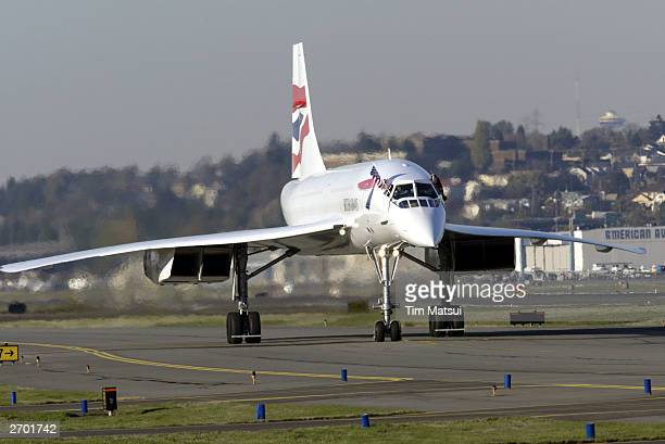 British Airways Concorde passenger jet taxis down the runway November 5 2003 at Boeing Field in south Seattle Washington This Concorde was donated...