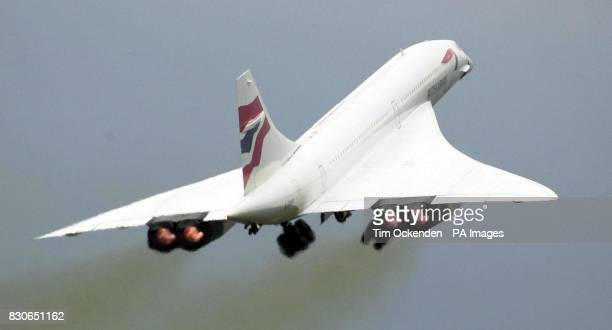 A British Airways Concorde takes off for a test flight from London's Heathrow Airport The verification flight which is expected to take the plane out...