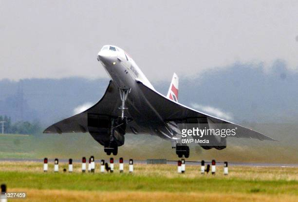 A British Airways Concorde takes off from Heathrow airport July 17 2001 in London There have only been test flights since 113 people died in the...