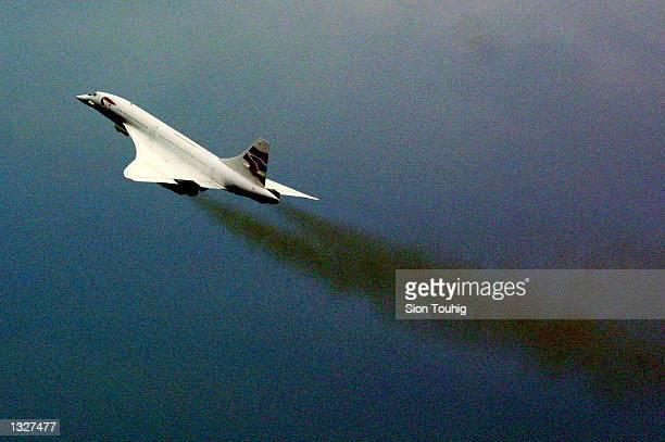 British Airways Concorde takes off from Heathrow airport July 17 2001 in London The flight is the first for the fleet of planes since the Air France...