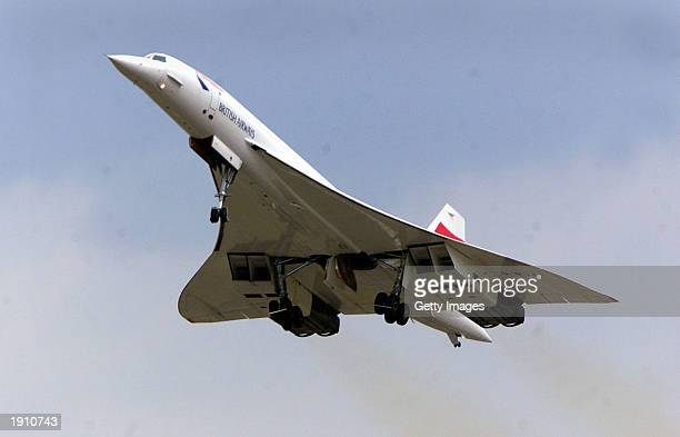 British Airways Concorde takes off from Heathrow airport July 17, 2001 in London, United Kingdom. British Airways and Air France announced April 10,...