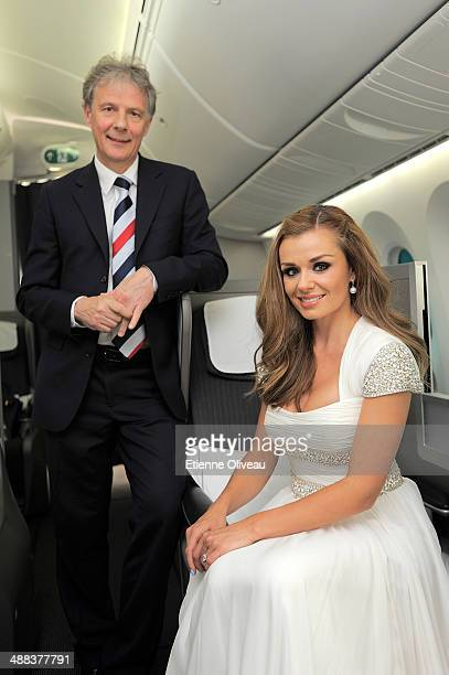 British Airways Executive Chairman Keith Williams and British mezzosoprano Katherine Jenkins OBE photographed in the Club World cabin during a...