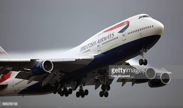 British Airways flight departs Heathrow Airport on November 13 2009 in London England Spanish Airline Iberia and British Airways have reached an...