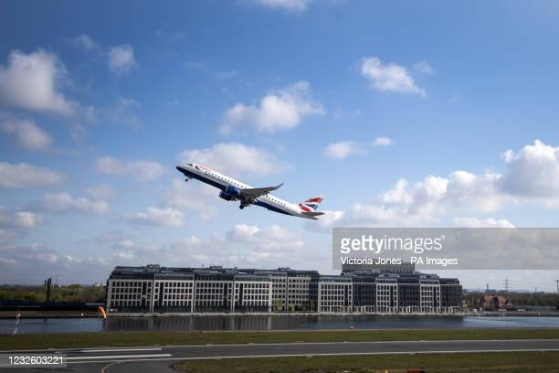 British Airways flight takes off at London City Airport, which has become the world's first major airport to be fully controlled by a remote control...