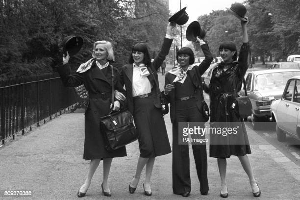 British Airways girls Myrtle Winston Diane Edmunds Anna Pugin and Chris Harris displaying some of the items from a new wardrobe designed by Baccarat...