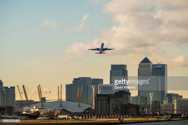 British Airways jet plane takes off from London City Airport in East London