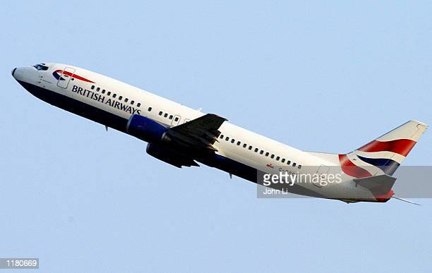 British Airways jet takes off from Heathrow Airport on July 29 in London England First quarter results from British Airways PLC are due to be...