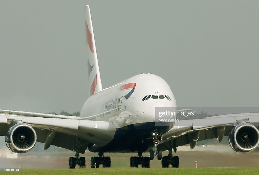 British Airways' new super jumbo Airbus A380 lands at Washington Dulles International Airport October 2, 2014 in Dulles, Virginia. British Airways introduced the first Airbus A380 nonstop service between London Heathrow and Washington Dulles International Airport.