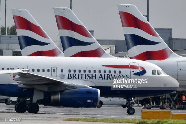 British Airways passenger aircraft are pictured at London Heathrow Airport west of London on May 3 2019 London Mayor Sadiq Khan along with...