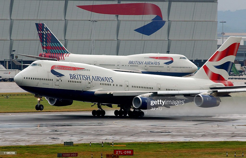 A British Airways passenger plane prepares to take off from Heathrow Airport July 31, 2002 in London, England. First quarter results from British Airways PLC are due to be announced August 2, 2002 after general warnings of a difficult financial year.