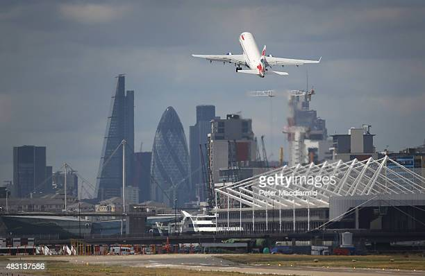 British Airways passenger plane takes off from from London City Airport on August 6 2015 in London England US company Global Infrastructure Partners...