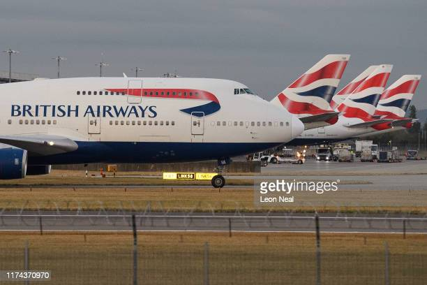 British Airways passenger plane taxis at Heathrow Airport on September 13 2019 in London England Climate change protesters planned to disrupt the...