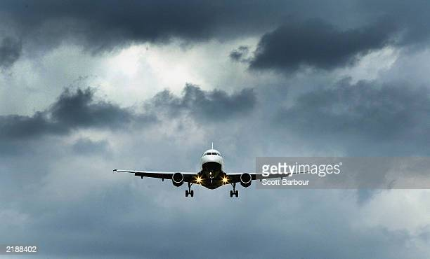 British Airways plane comes in to land at Heathrow Airport July 23 2003 in London England Thousands of airline passengers had suffered delays as...