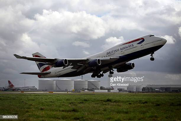 British Airways plane departs Heathrow on March 26 2010 in London England Cabin Crew are due to stage a planned 4 day strike this weekend Combined...