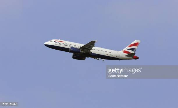 British Airways plane heads into the sky after taking off from Heathrow Airport on March 30 2006 in London England Air travel is the fastest growing...