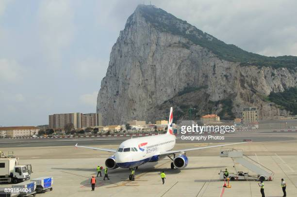 British airways plane International airport with the Rock in background Gibraltar southern Europe