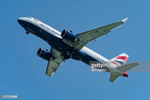 British Airways plane is seen taking off at Schiphol International Airport amid the coronavirus outbreak on April 26, 2020 in Amsterdam, Netherlands....