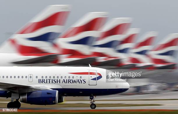 British Airways plane lands at Heathrow Airport on March 19 2010 in London England The planned three day strike by BA cabin crew this weekend will...