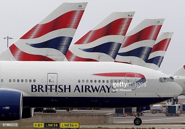 British Airways plane prepares to depart Heathrow Airport on March 19 2010 in London England The planned three day strike by BA cabin crew this...
