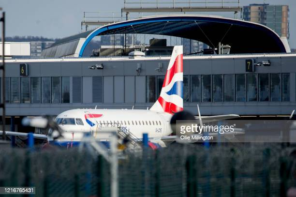 April 03: A British Airways plane sits parked up on the tarmac at London City Airport, currently closed for all commercial and private flights, on...