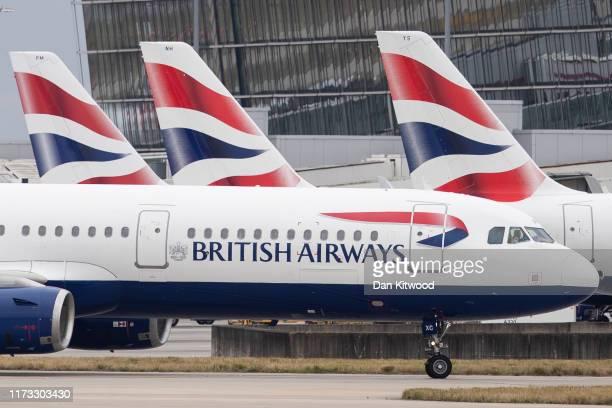 British Airways plane taxies after landing at Heathrow's Terminal 5 on September 9 2019 in London England British Airways pilots have begun a 48 hour...