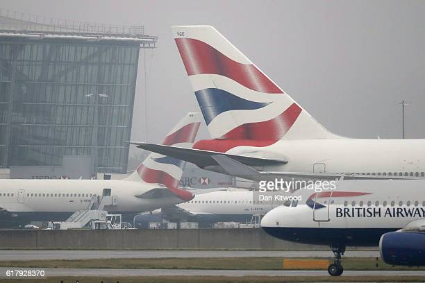 British Airways planes taxi near Heathrow's Terminal 5 on October 25 2016 in London England At a cabinet committee meeting today the government...