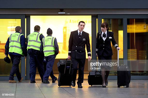 British Airways staff leave Terminal 5 of Heathrow airport on the first day of a three day strike by BA cabin crew on March 20 2010 in London England...