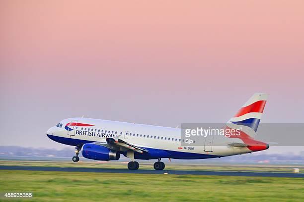 british airways taking off - british airways stock pictures, royalty-free photos & images