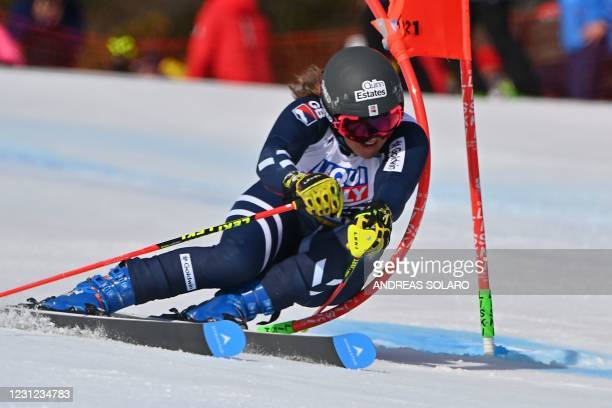 British Alexandra Tilley competes in the Women's Giant Slalom event on February 18, 2021 at the FIS Alpine World Ski Championships in Cortina...