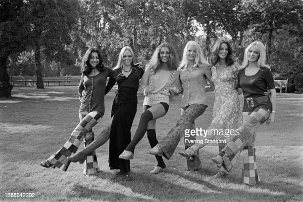 British all-female dance troupe Pan's People, UK, 1971. From left to right, they are Ruth Pearson, Flick Colby, Louise Clarke, Babs Lord, Dee Dee...