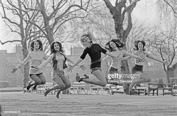 British all-female dance troupe Pan's People, UK, 23rd March 1973. From left to right, they are dancers Louise Clarke, Ruth Pearson, Babs Lord,...