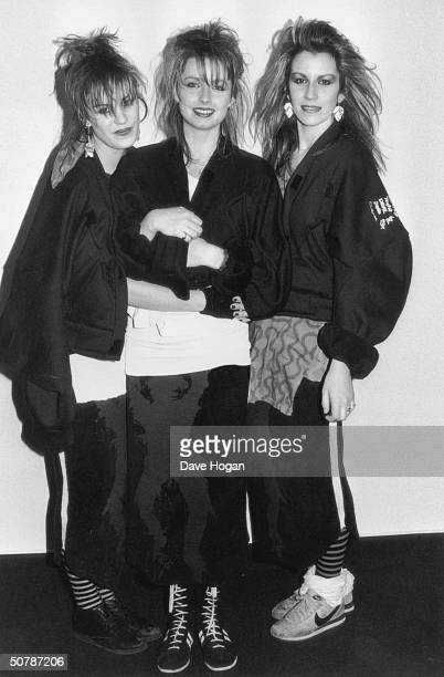 British allgirl pop group Bananarama 1984 Left to right Siobhan Fahey Keren Woodward and Sarah Dallin