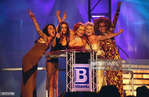 British all-girl singing group the Spice Girls at the Brit Awards, where they won in the Best Video and Best Single categories, 24th February 1997....