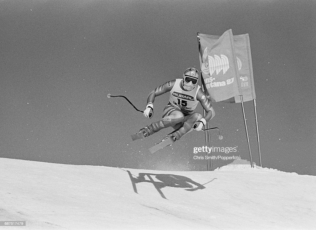 Men's Combined At 1987 World Ski Championships : Nachrichtenfoto