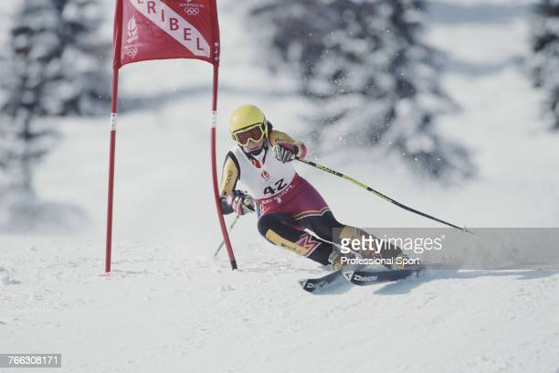 British alpine skier Emma Carrick-Anderson of the Great Britain team pictured competing to finish in 19th place in the Women's slalom skiing event...