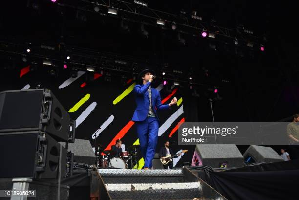 British alternative rock band Maximo Park perform on stage during day two of RiZE Festival in Chelmsford, on August 18, 2018. The band consists of...
