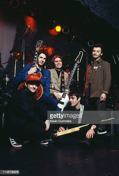 British alternative rock band the Manic Street Preachers with former Suede guitarist Bernard Butler November 1994 Left to right Sean Moore Butler...