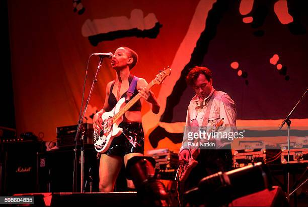 British alternative rock group Gang Of Four perform onstage at the Poplar Creek Music Theater Hoffman Estates Illinois July 12 1991 Pictured are...
