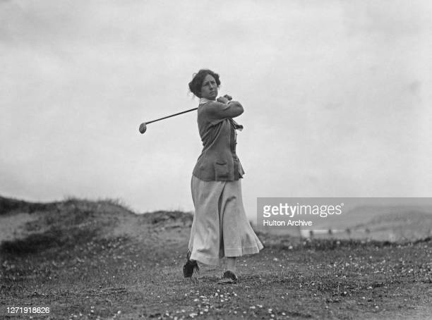 British amateur golfer Cecil Leitch on the fairway during the Women's Amateur Championship at the Royal Portrush Golf Club in Portrush Northern...