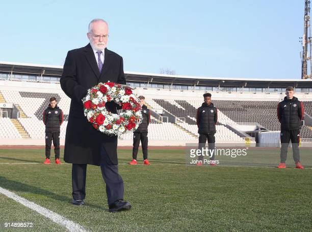 British Ambassador Denis Keefe lays a wreath in memory of the victims of the Munich Air Disaster on the 60th anniversary at Partizan Stadium on...