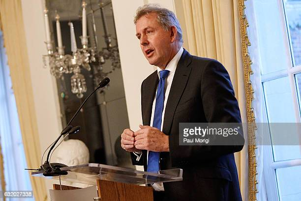 British Ambassador Kim Darroch speaks at an Afternoon Tea hosted by the British Embassy to mark the US Presidential Inauguration at The British...