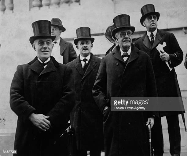 British ambassador Sir Auckland Campbell Geddes Sir Maurice Hankey Arthur Balfour and Aurthur Lee in Washington DC for the International Conference...