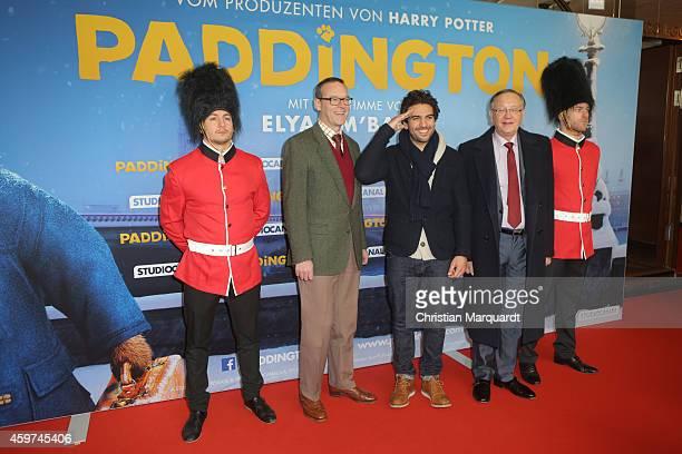 British ambassador Sir Simon Mcdonald Elyas M'Barek and Peruvian Ambassdor Jose Antonio Meier attend the German premiere of the film 'Paddington' at...