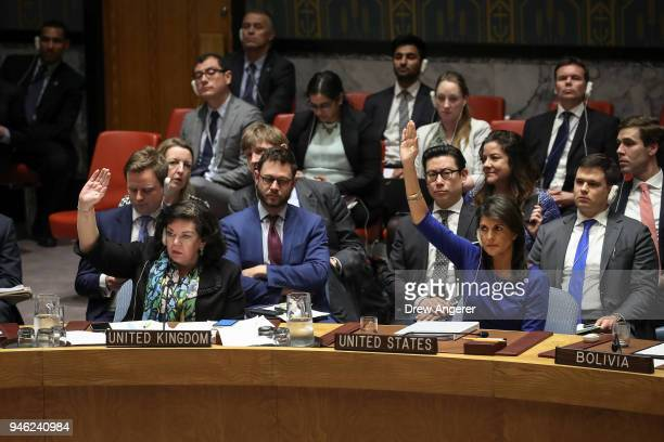 British Ambassador to the United Nations Karen Pierce and United States Ambassador to the United Nations Nikki Haley veto a Russian proposed draft...