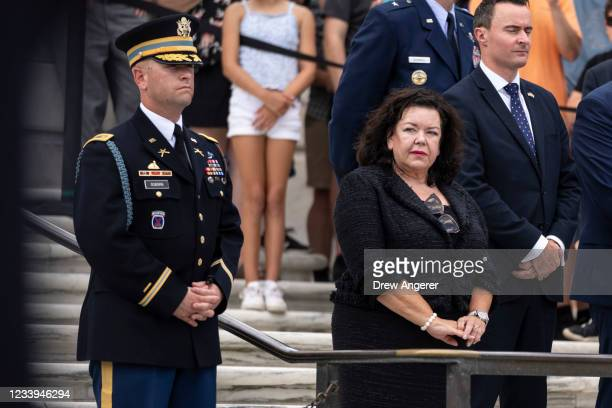 British Ambassador to the United States Karen Pierce attends a wreath laying ceremony with Robert Ben Wallace, Secretary of State for Defense of the...