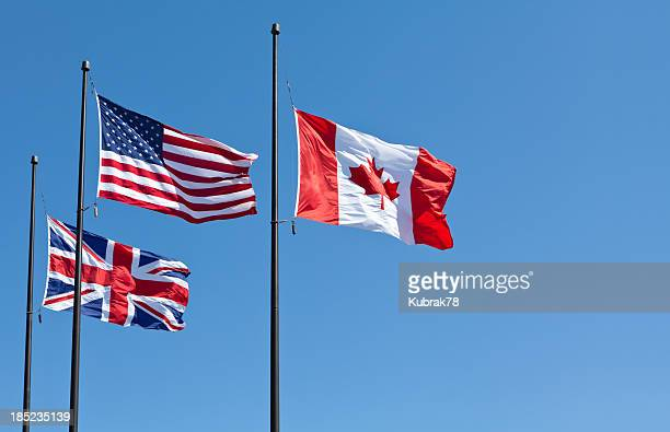 british, american and canadian flags - american culture stock pictures, royalty-free photos & images