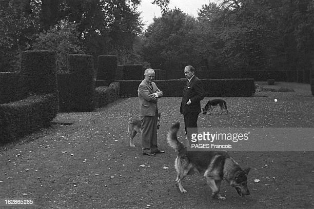 British American petrolindustrialist J Paul Getty with his friend business colleague and security adviser Jack Forrester at his Sutton Place mansion...