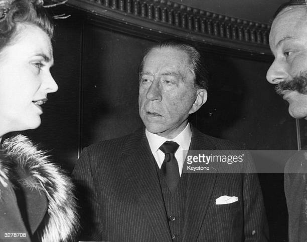 British American petrolindustrialist J Paul Getty with Margaret Campbell Duchess of Argyll and Conservative MP Gerald Nabarro circa 1960