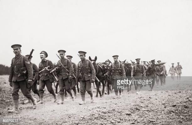 A British ammunition column during World War I circa 1915
