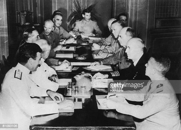 British and American chiefs of staff attend the Quebec Conference during World War II August 1943 Among them are Louis Mountbatten Admiral Dudley...